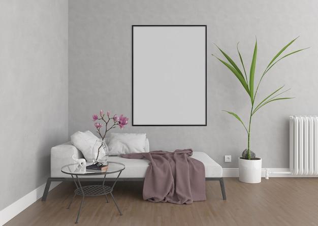 Modernes wohnzimmer mit vertikalem leerem fotorahmen oder grafikrahmen, innenmodell
