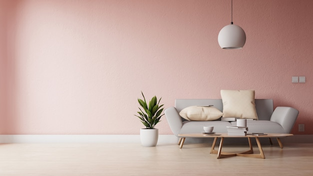 Modernes wohnzimmer mit weißem sofa haben kabinett und hölzerne regale auf hölzernem bodenbelag und weißer wand