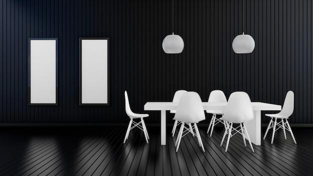 Modernes wohnzimmer mit weißem tisch und weißer lampe, fotorahmen im dunklen innenraum des luxus, schwarze leere wand, 3d-darstellung