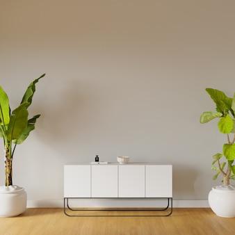 Modernes wohnzimmer mit weißer kommode