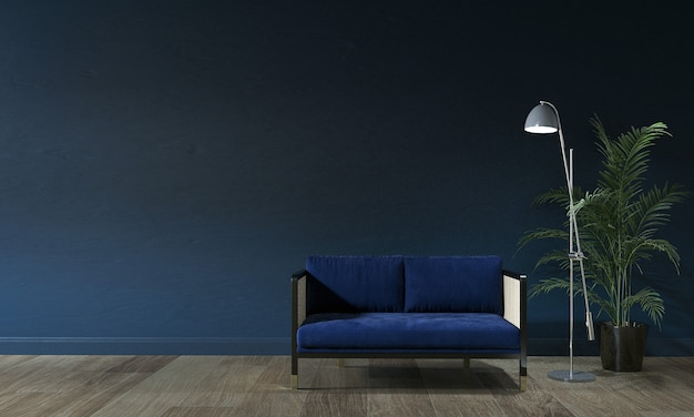 Modernes wohnzimmer und blaue wandbeschaffenheitshintergrundinnenarchitektur