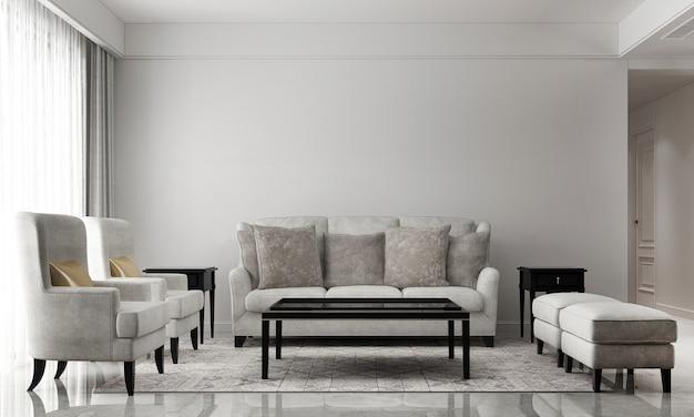 Modernes wohnzimmer und leere weiße wandbeschaffenheitshintergrundinnenarchitektur