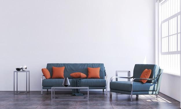 Modernes wohnzimmer und weiße wandbeschaffenheitshintergrundinnenarchitektur