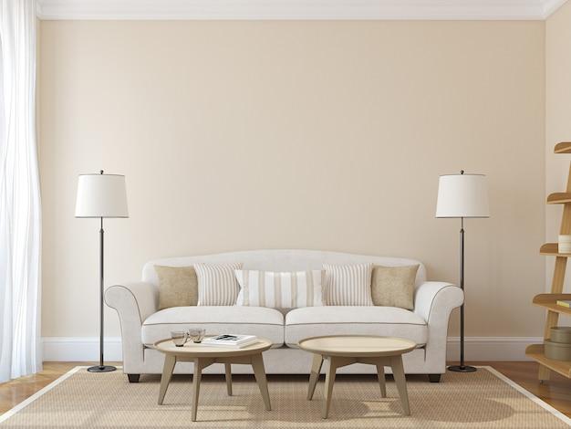 Modernes wohnzimmerinterieur mit weißer couch nahe leerer beige wand. 3d rendern. das foto auf dem buchcover wurde von mir gemacht.
