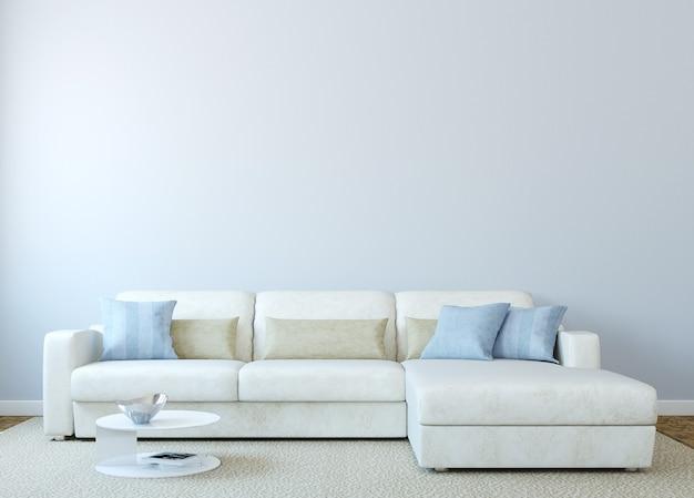 Modernes wohnzimmerinterieur mit weißer couch nahe leerer blauer wand. 3d rendern. das foto auf dem buchcover wurde von mir gemacht.