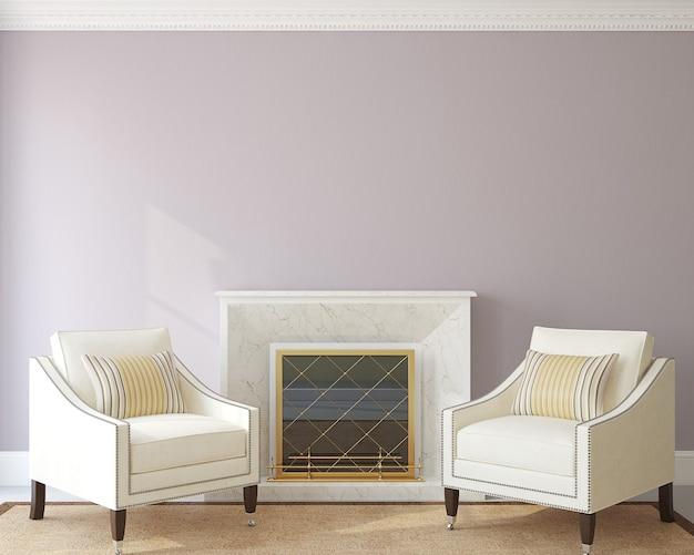 Modernes wohnzimmerinterieur mit zwei sesseln in der nähe des kamins. 3d rendern.
