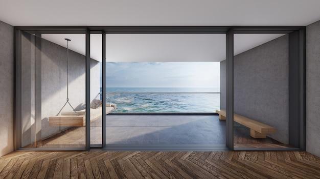 Modernes zimmer mit balkonblick und blick auf meer und himmel. 3d-rendering