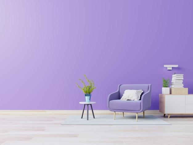 Modernes zimmer mit violettem sessel im offenen raum mit lampe und schrank
