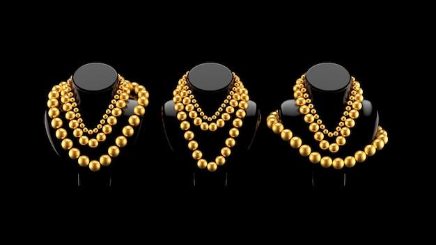 Modische perlen auf dem mannequin.