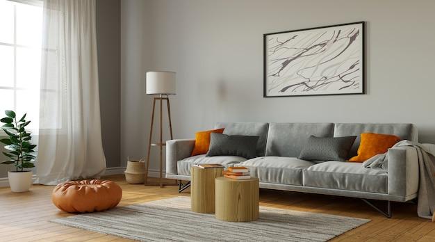 Modisches wohnzimmer interieur mit stilvollen möbeln, 3d-rendering