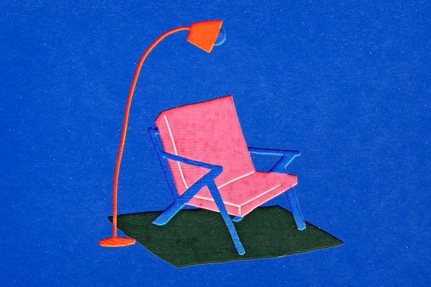 Möbel im papercraft-ausschnitt-stil