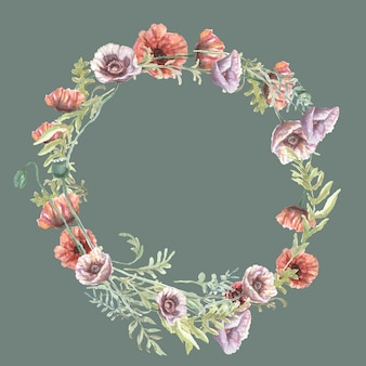 Mohnblumen blüht rote lila wildblumen handgezeichnete aquarellillustration. skizzieren sie drucktextilhintergrundmuster nahtloser rahmenrahmen. naturpflanzen blätter dekoration