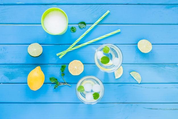 Mojito-cocktails in gläsern mit zitrusfrüchten