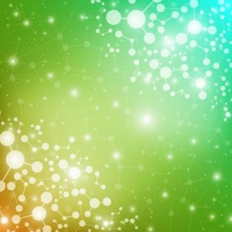 Molekülstruktur-dna und kommunikationshintergrund. verbundene linien mit punkten. konzept der wissenschaft, verbindung, chemie, biologie, medizin, technologie, illustration