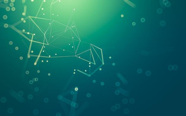 Molekültechnologie mit polygonalen formen, die punkte und linien verbinden.