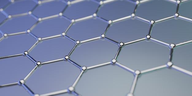 Molekulare nanotechnologiestruktur des graphens auf einem hintergrund - wiedergabe 3d