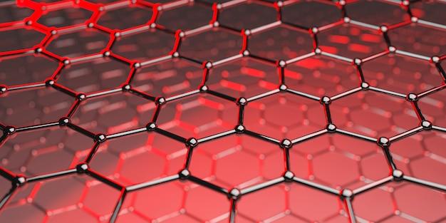 Molekulare nanotechnologiestruktur des graphens auf einem roten hintergrund - wiedergabe 3d
