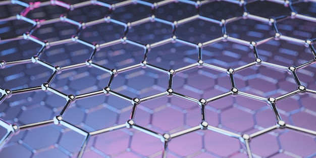 Molekulare nanotechnologiestruktur des graphens auf purpurrot-rosa - wiedergabe 3d