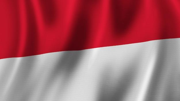 Monaco-flagge wehende nahaufnahme 3d-rendering mit hochwertigem bild mit stoffstruktur