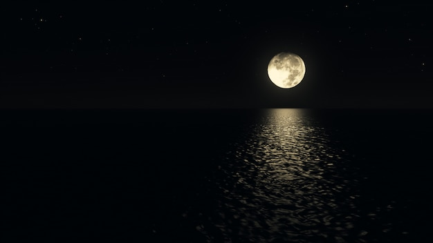Mondscheinpfad mit niedrigem narrenmond über der realistischen 3d-illustration des meeres