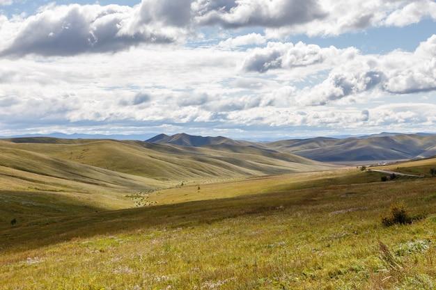 Mongolische steppe mit wiese