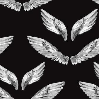 Monochrome aquarell-engelsflügel