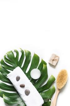 Monstera blatt, pinsel, spa set zur entfernung von cellulite und wellness.