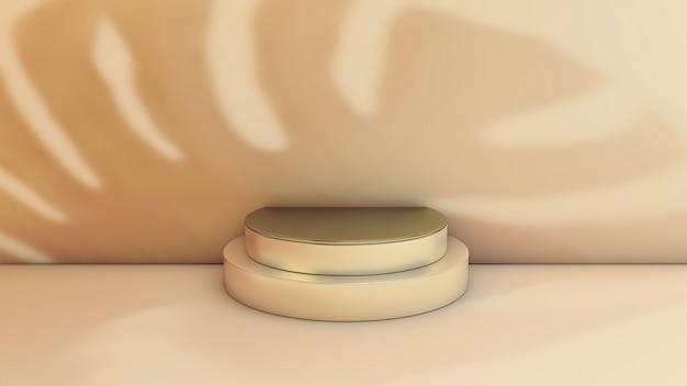 Monstera schatten auf marmor produktständer mit goldenem kreis. 3d-illustration. vorderansicht. marmorzylinderszene gegen die wand.