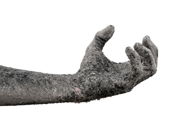 Monsterzombiehandschlacke lokalisiert auf weiß.