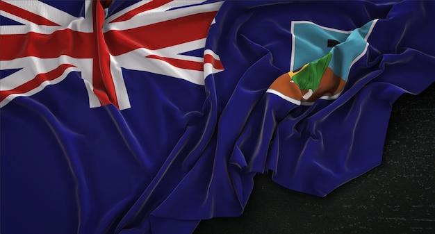 Montserrat-fahne geknittert auf dunklem hintergrund 3d render