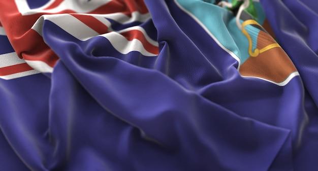 Montserrat-flagge gekräuselt schön winken makro nahaufnahme shot