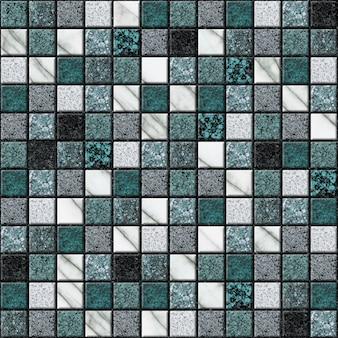 Mosaik aus weißem und grünem marmor. element für die innenausstattung. keramikfliesen. nahtlose textur