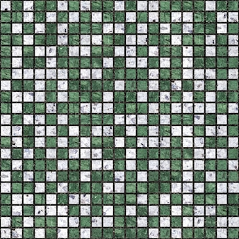 Mosaik aus weißem und grünem marmor. keramikfliesen. nahtlose textur