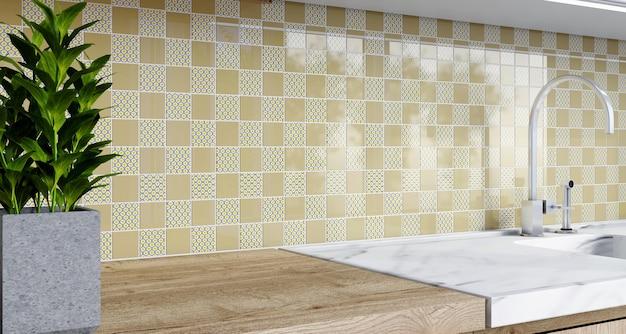 Mosaik backsplash in der küche. 3d-rendering. modernes interieur. klassischer stil.