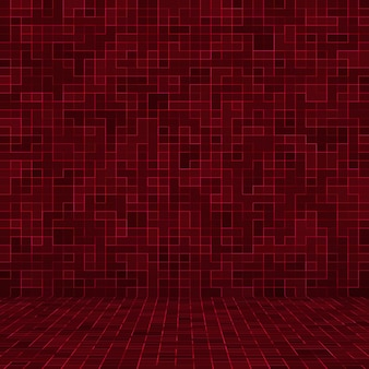 Mosaikkompositionsmuster der roten fliesen der roten keramikglasfliesen.
