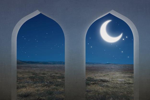 Moscheefenster mit einer wiesenansicht und dem nachtszenenhintergrund