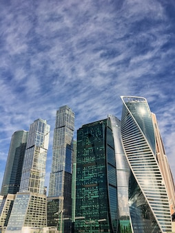Moskau stadt moskau international business center am abend, russland
