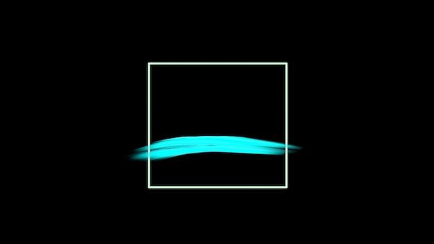 Motion abstrakte blaue bürsten, schwarzer grunge-hintergrund. eleganter und luxuriöser 3d-illustrationsstil für hipster- und aquarellvorlagen