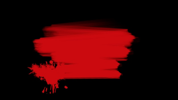 Motion abstrakte rote bürsten, schwarzer grunge-hintergrund. eleganter und luxuriöser 3d-illustrationsstil für hipster- und aquarellvorlagen