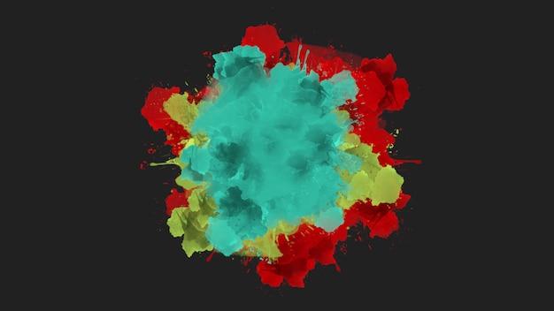 Motion abstrakte rote und blaue stelle und spritzer, bunter grunge-hintergrund. eleganter und luxuriöser 3d-illustrationsstil für hipster- und aquarellvorlagen