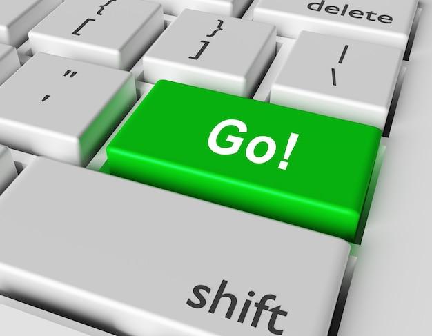 Motivationskonzept. word go! sie auf der taste der computertastatur