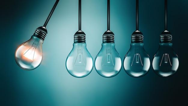 Motivationskonzeptbild mit glühbirnen, perpetuum motion-konzept