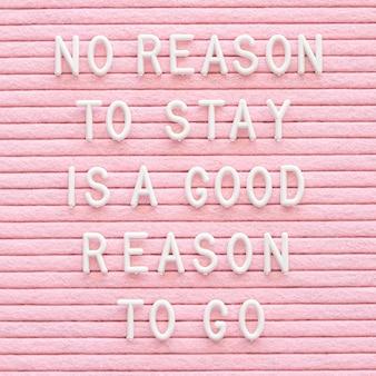Motivationsnachricht auf rosa hintergrund
