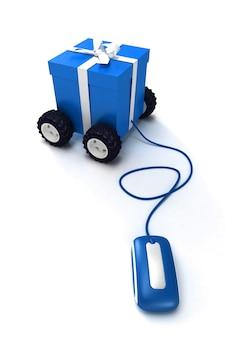 Motorisierte geschenkbox, die an eine maus angeschlossen ist
