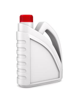 Motoröl aus kunststoffbehälter auf weißer oberfläche. isolierte 3d-illustration