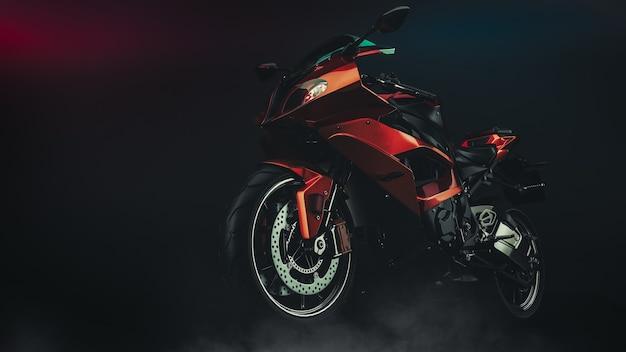 Motorrad im studio. 3d-rendering und illustration.