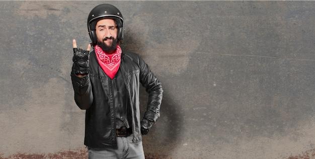 Motorradfahrer verärgert oder anderer meinung ausdruck