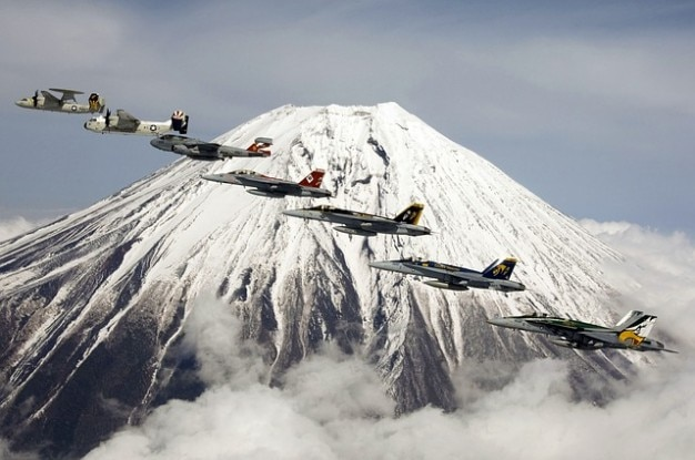 Mount bildung fujiyama vulkans flug fuji