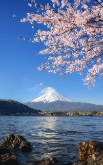 Mount fuji in der nähe eines sees