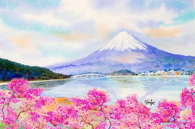 Mount fuji und sakura kirschblüte am see.